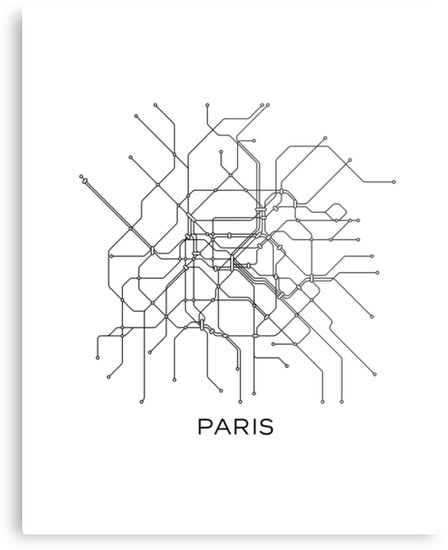 paris subway mapblack white linesvintage map retroprint paris