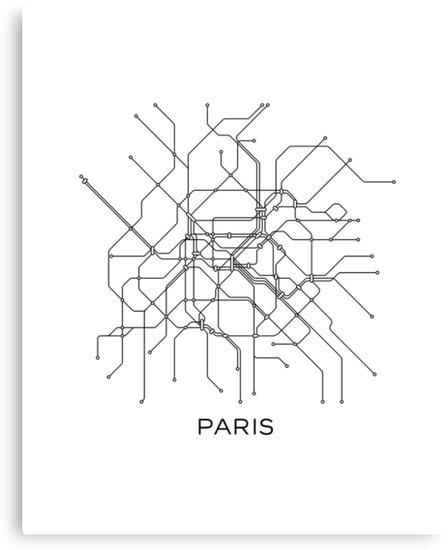 Paris Subway Map Black White Lines Vintage Map Retro Print Paris