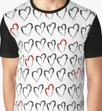 Hearts pattern created in grunge style Graphic T-Shirt