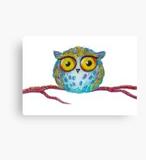 Funny blue owl with the yellow eyes Canvas Print