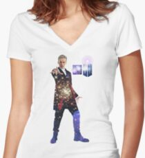 Galactic Peter Capaldi Women's Fitted V-Neck T-Shirt