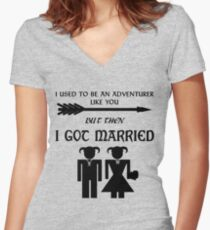 But Then I Got Married Women's Fitted V-Neck T-Shirt