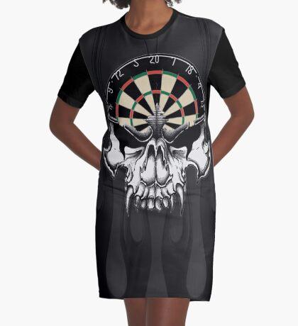 Darts Skull and Flames Graphic T-Shirt Dress