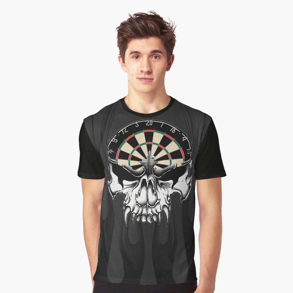 Darts Skull and Flames Graphic T-Shirt