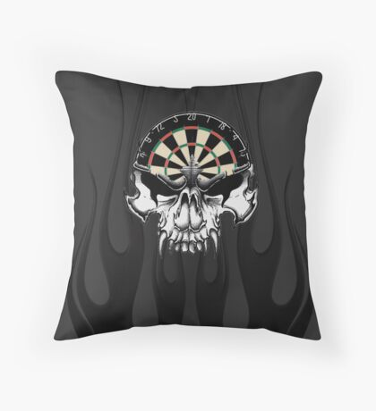 Darts Skull and Flames Throw Pillow