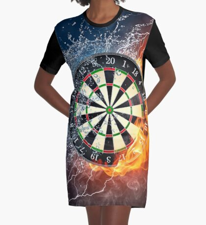 Fire And Ice Dartboard Graphic T-Shirt Dress