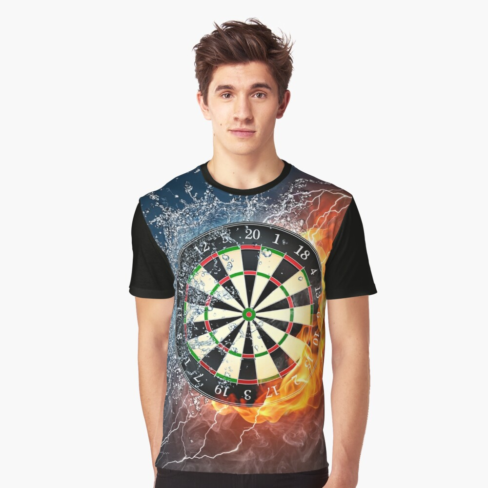 Fire And Ice Dartboard Graphic T-Shirt Front