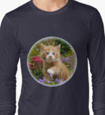 Cute Ginger Cat Kitten in a Garden Photo Portrait Long Sleeve T-Shirt