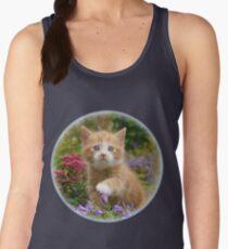 Cute Ginger Cat Kitten in a Garden Photo Portrait Women's Tank Top