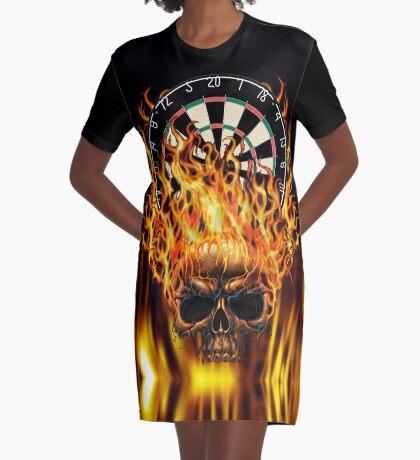 Flaming Skull Dartboard Graphic T-Shirt Dress