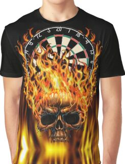 Flaming Skull Dartboard Graphic T-Shirt