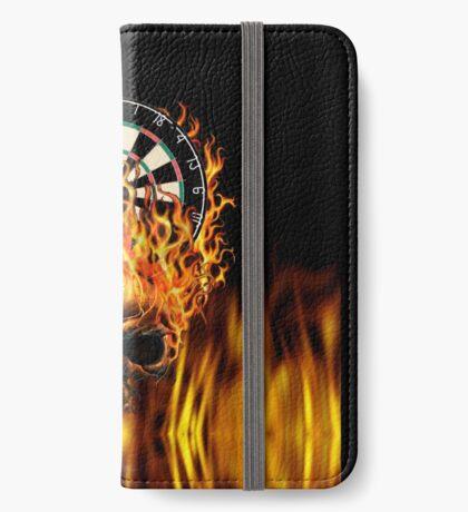 Flaming Skull Dartboard iPhone Wallet