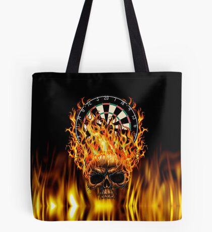 Flaming Skull Dartboard Tote Bag