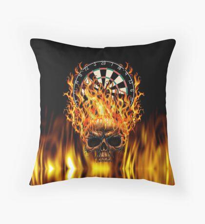 Flaming Skull Dartboard Throw Pillow