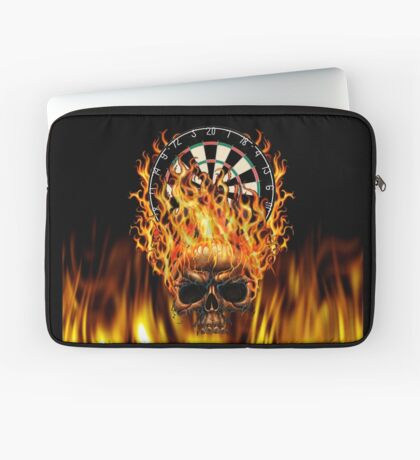 Flaming Skull Dartboard Laptop Sleeve