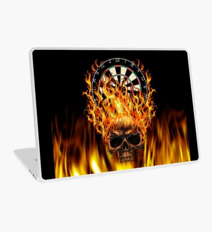 Flaming Skull Dartboard Laptop Skin