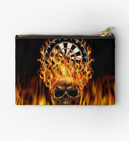 Flaming Skull Dartboard Studio Pouch