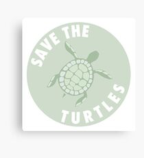 save the turtles badge  Canvas Print