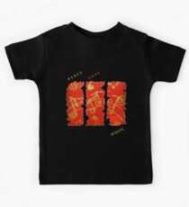 RED GOLD SONG MUSICAL NOTES PEACE LOVE MUSIC Kids Tee