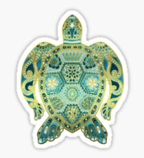 Royal Sea Turtle - turquoise and gold Sticker