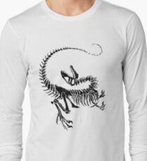 Velociraptor Skeleton Print Long Sleeve T-Shirt