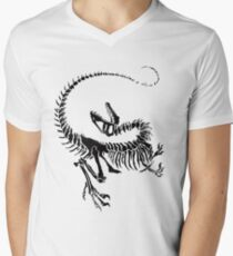 Velociraptor Skeleton Print Men's V-Neck T-Shirt