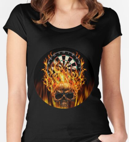 Flaming Skull Dartboard Women's Fitted Scoop T-Shirt