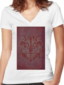 Tribal Wolf Red Women's Fitted V-Neck T-Shirt