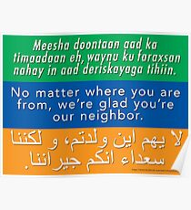 Welcome Your Neighbors - Somali, English, Arabic Poster