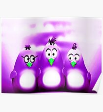 Penguin Triplet In Solid Purple Poster