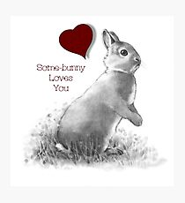 Cute Bunny, Valentine, Some-bunny Loves You, Humor, Art Photographic Print