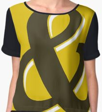 Gold & Brown Ampersand / Typographic Design Chiffon Top