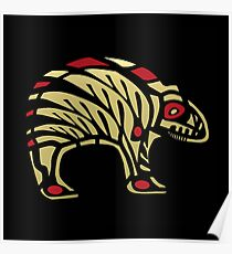 Pacific Northwest Black and Gold Bear Icon Poster
