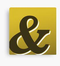 Gold & Brown Ampersand / Typographic Design Canvas Print