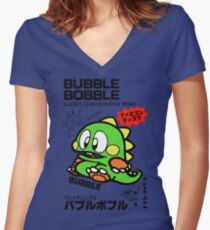 Bubble Bobble (Japanese Art) Women's Fitted V-Neck T-Shirt