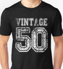 Vintage 50 2050 1950 T-shirt Birthday Gift Age Year Old Boy Girl Cute Funny Man Woman Jersey Style T-Shirt