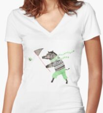 Wild boar and butterfly Women's Fitted V-Neck T-Shirt