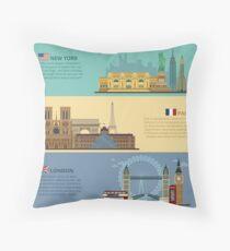 Cojín Conjunto de banners horizontales de viaje - Nueva York, París y Londres. Cada ciudad está representada en sus famosos edificios. Ilustración de vector en estilo plano