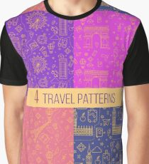 Travel Seamless Patterns Set: London and Paris. Vector backgrounds for decoration Graphic T-Shirt