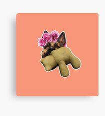 Dogmeat Teddy Bear Flower Crown Canvas Print