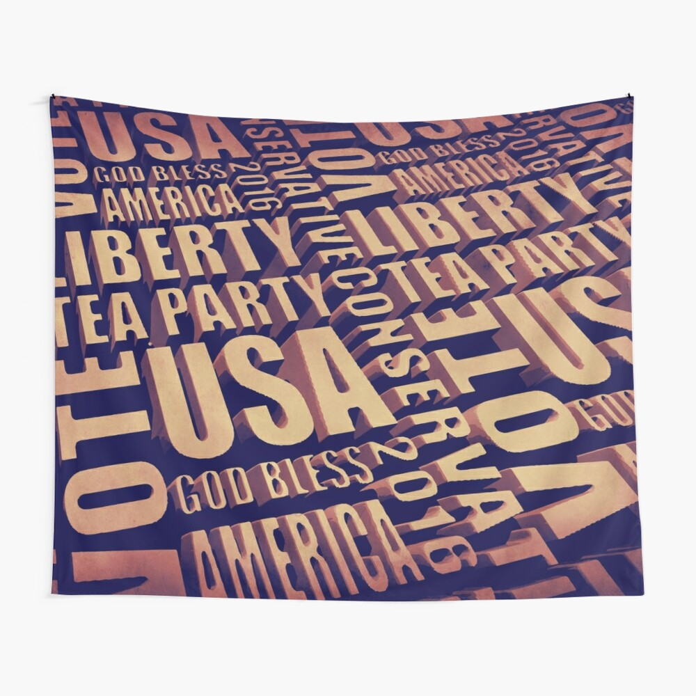 Tea Party Text Wall Tapestry