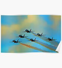 Beautiful Blue Angels Art Poster