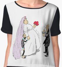 Fancy Bride And Groom At Wedding Women's Chiffon Top