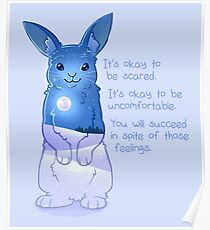"""""""It's Okay to Be Scared"""" Night Snow Rabbit Poster"""