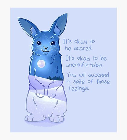 """It's Okay to Be Scared"" Night Snow Rabbit Photographic Print"