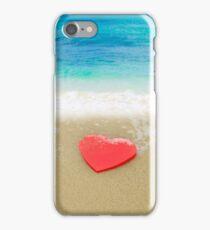 Red Heart shape on sandy beach iPhone Case/Skin