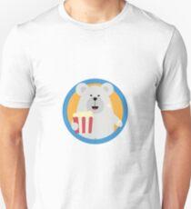 Polar Bear eating Popcorn with circle Unisex T-Shirt