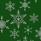 Snowflakes Green by Adam Wain