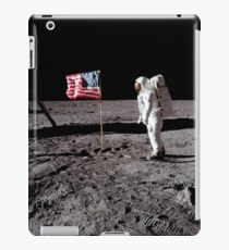 Astronaut salutes the American flag during an Apollo 11 moonwalk. iPad Case/Skin
