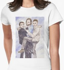 Team Free Will: Misha Collins; Jared Padalecki and Jensen Ackles, watercolor painting Womens Fitted T-Shirt